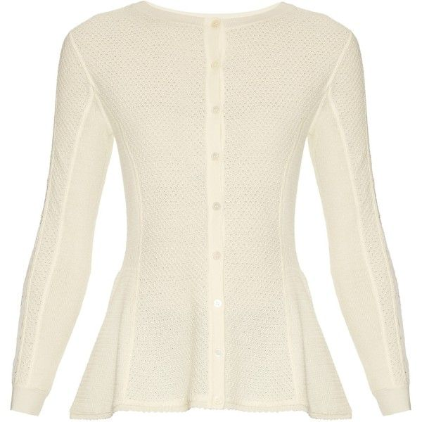 Oscar De La Renta Lace-panel wool cardigan (€1.670) ❤ liked on Polyvore featuring tops, cardigans, cream, oscar de la renta top, lace insert top, slim fit cardigan, button cardigan and lace inset top
