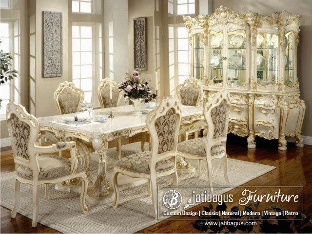 Meja Makan Ukir Putih Duco Victoria Minerva