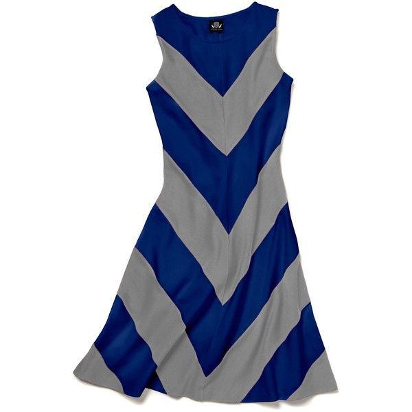 Slater Zorn Court Dress (365 BAM) ❤ liked on Polyvore featuring dresses, blue chevron print dress, blue tank top dress, chevron print dress, blue tank dress and blue chevron dress