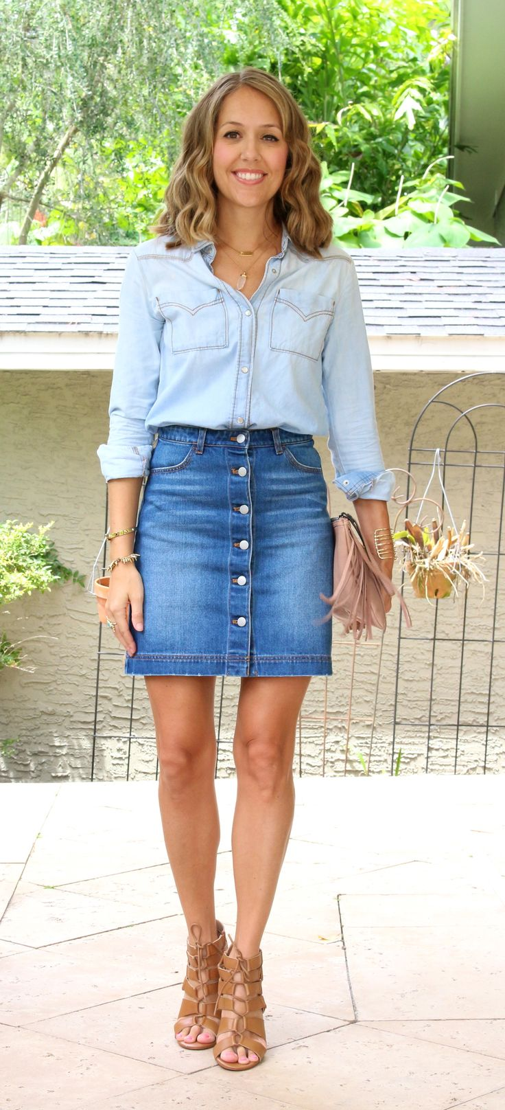incredible button up skirt outfit ideas 12