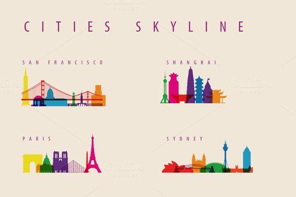 Check out City Skyline Landmarks Illustration by IB on Creative Market | - 4 cities - Paris, San Francisco, Shanghai, Sydney