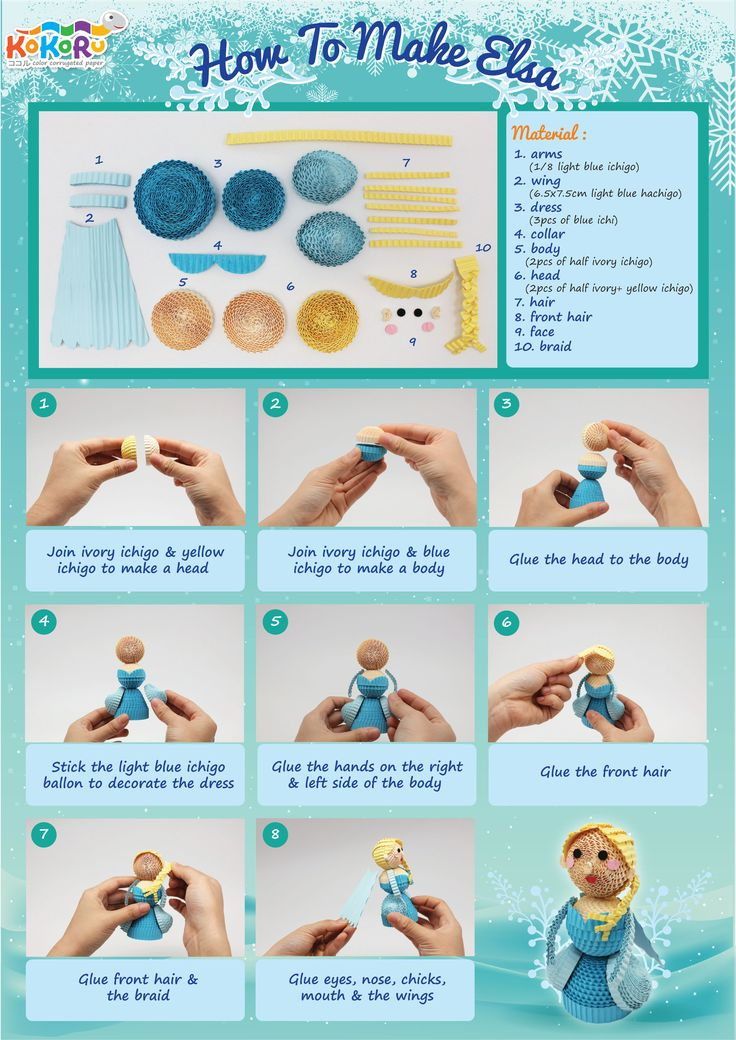 How to make Elsa #kokoru #kokorupaper #DIY #frozen #elsa