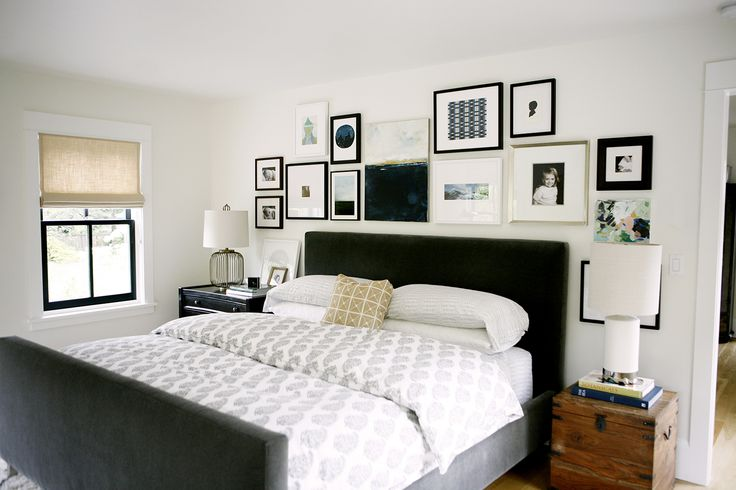 Gah!  Perfect bedroom. Green headboard, gallery wall, everything.