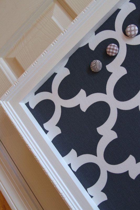 "Framed Fabric Magnet Board - Magnetic Bulletin Board, 29"" x 23"" Memo Board Vintage Wedding Kitchen Bulletin board"