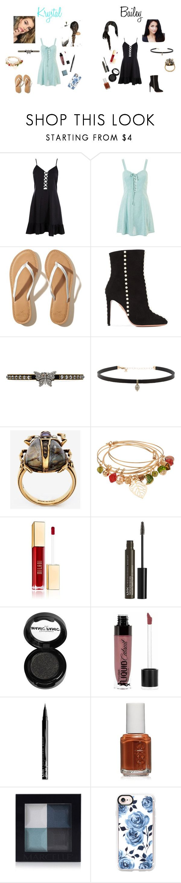 """""""Kyrstal Black and Bailey Swan -visions-"""" by megpegachu on Polyvore featuring Boohoo, Topshop, Hollister Co., Aquazzura, Gucci, Carbon & Hyde, Alexander McQueen, NYX, Manic Panic NYC and Wet n Wild"""