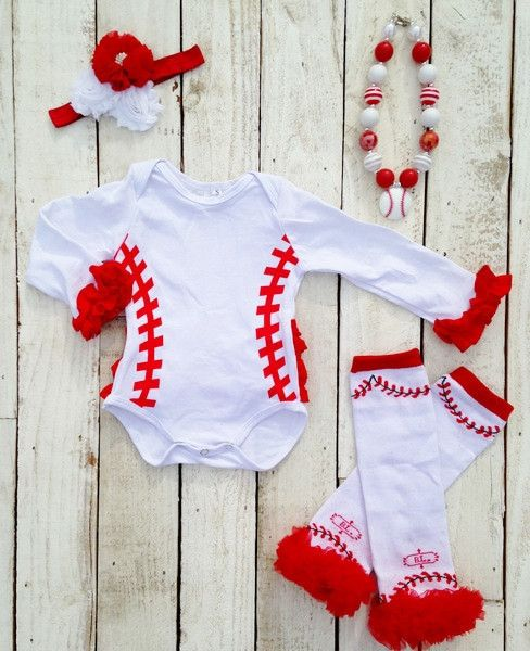 Baseball Ruffle Onesie....where was this when my girl was this little??