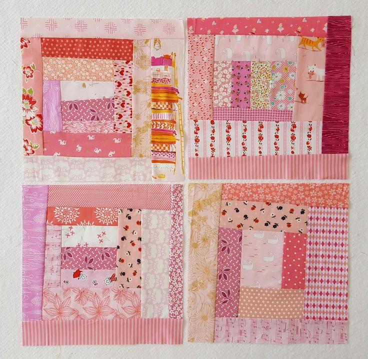 four pink log cabin blocks wonky log cabin blocks to use up scraps