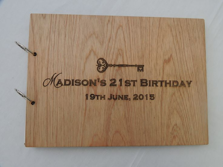 Beautiful signing book for a 21st birthday - laser cut and etched using Fijian Cedar front and back covers and 210gsm Grange for the paper on the inside