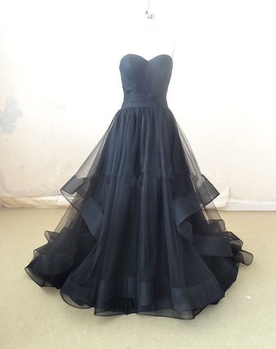 Elegant Black Tulle Sweetheart Long Prom Dress, Prom Dresses 2016, Prom Gowns, Party Dresses
