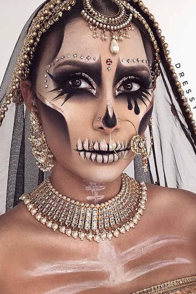 Ladies gold Halloween skull skeleton costume make up