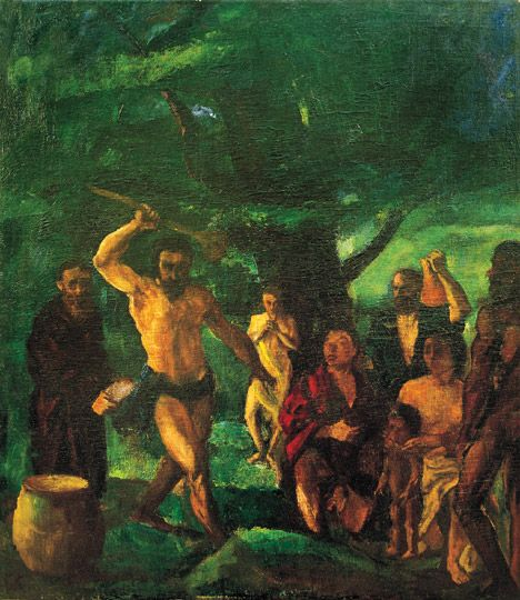Kernstok Károly (1873-1940) Mózes elűzi a pásztorokat, 1900 körül Olaj, vászon, 100,5x87 cm