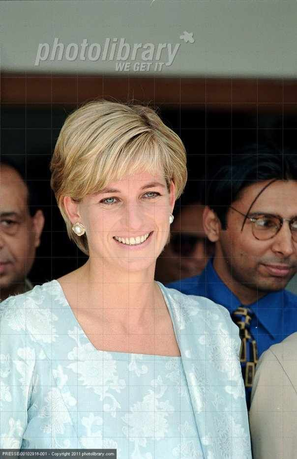 May 22, 1997: Diana, Princess of Wales visiting the Memorial Cancer Hospital founded by international cricketer, Imran Kah, husband of Jemima Goldsmith, a friend of Diana's.