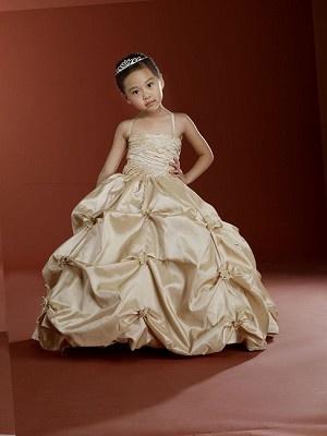 Macis Designs Gold Taffeta Gather Dress for toddler girl