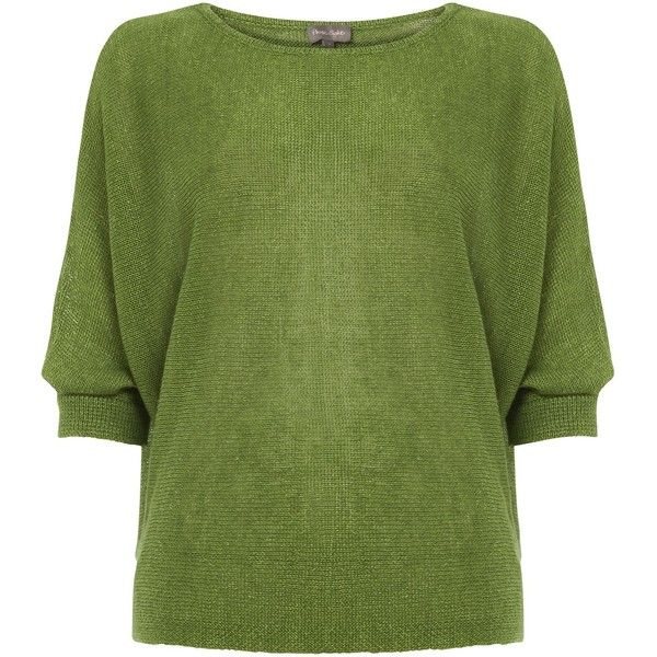 Phase Eight Delmi Linen Batwing Knitted Jumper (110 CAD) ❤ liked on Polyvore featuring tops, sweaters, green, women, bat sleeve tops, green jumper, jumpers sweaters, jumper top and batwing tops