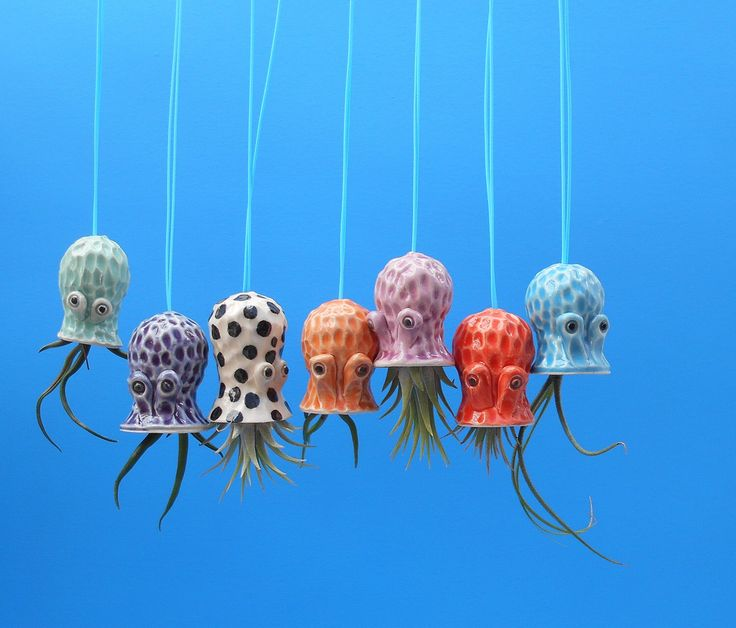 Hanging, Mini Pebbled Octopus Air Planter, Window Ornament by CindySearles on Etsy https://www.etsy.com/listing/229249824/hanging-mini-pebbled-octopus-air-planter