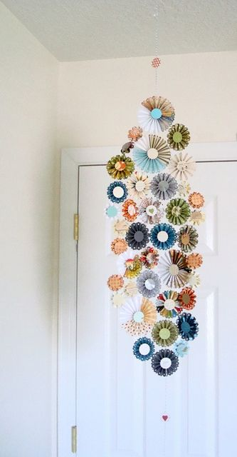 Use rosette shapes to create this great mobile.
