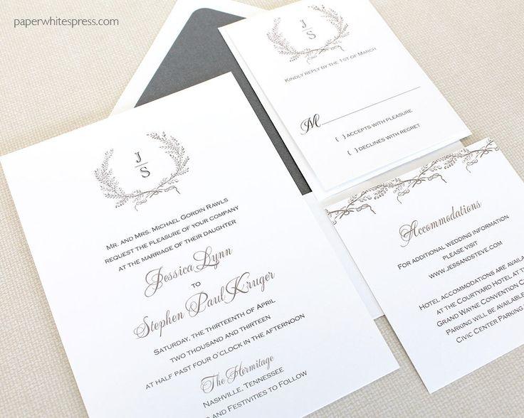 Laurel Wreath Wedding Invitations, Monogram Wedding Invitations, Wreath Monogram Invitations, Classic Wreath Wedding Invitations, Timeless by paperwhitespress on Etsy https://www.etsy.com/listing/92564273/laurel-wreath-wedding-invitations