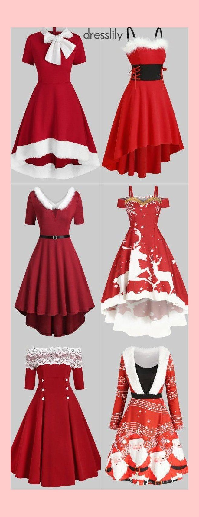 Christmas Red Dresses Women Fit & Flare Dresses | 6303 in ...