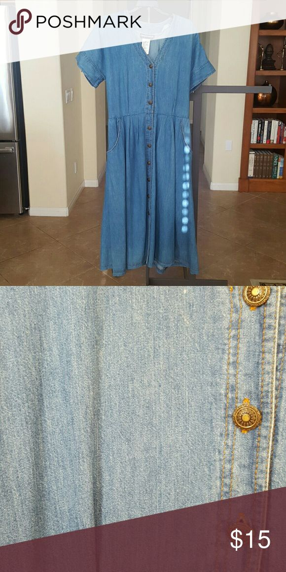 """Vintage denim dress Vintage blue medium wash denim button down shirt dress with two pockets. Bust size 42"""", elastic waist 34"""" when stretched 37"""" shoulder to waist 34"""" sleeve opening 16 """" and waist to him 31"""" Chorus Blues Petite Dresses"""