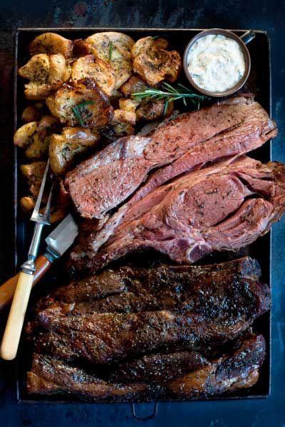 Prime Rib Roast with Smashed Potatoes & Horseradish Cream