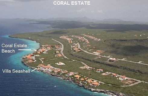 Coral Estate is one of Curacao's most prestigious gated resorts, located at the South West of the island.  It has a 2 mile long coastline. The reefs are readily available for diving and snorkeling and can be accessed from Coral Estate Beach, which is on walking distance from Villa Seashell (about 200 yards / 200 m).