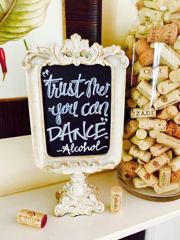 Custom wedding chalkboard for the bar -- what fun! #chalkbyjulie #chalkboardsbyjulie