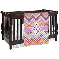 Ikat Chevron Purple Baby Blanket (Double Sided) (Personalized)