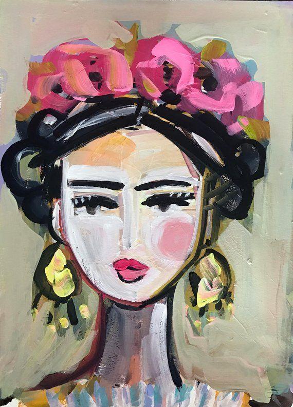 Frida Portrait Frida Drucken Sie abstraktes Papier…