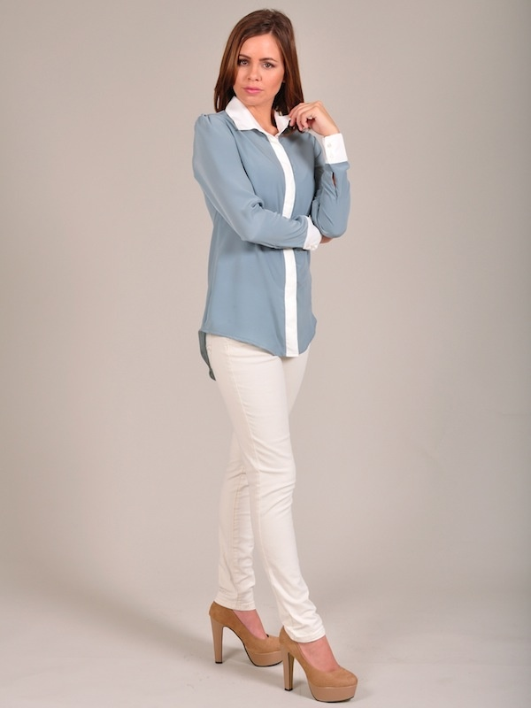 Diligo cream and blue colour block shirt | www.diligo.co.za