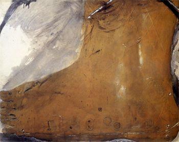 Matèria en forma de peu, 1965 Materia en forma de pie Procedimiento mixto sobre tela  130 x 162 cm