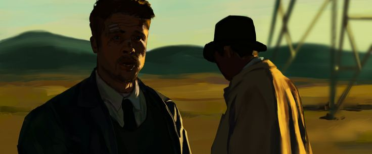 "Digital art practice piece Still from the movie ""Se7en"" featuring Brad Pitt & Morgan Freeman  Photoshop CC and a Wacom Intuos Pro"