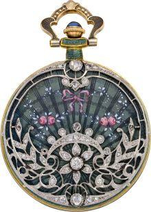 Timepieces:Pendant , Swiss Gold Enamel & Diamond Pendant Watch, circa 1910. ...