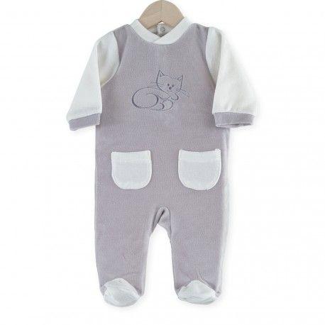 """Pijama """"Gatito"""" #pijama #bebe #gatito #durmiendo #blanco #gris #kinousses"""