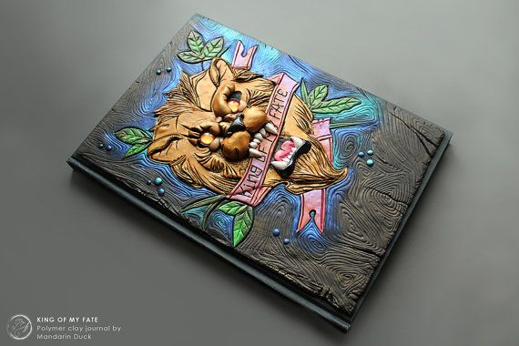 DISPLAY ITEM - Lion Tattoo Journal-  King of my fate - secret diary- plain sketchbook- polymer clay - fantasy steampunk leather effect