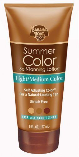 Banana Boat, Summer Color Self-Tanning Lotion, Light/Medium Color, for all Skin Tones, 6-Ounce Tubes (Pack of 3) by Banana Boat. $16.43. Streak-free; oil-free; quick-drying. Oil-free and enriched with aloe vera and Vitamin E. Case of three 6-ounce tubes of sunless tinted lotion (total of 18 ounces). Made in Canada. For a rich, sun-free tan. Summer Color lets you control the shade of your tan. This quick-drying sunless tanning lotion from Banana Boat allows you to get ...
