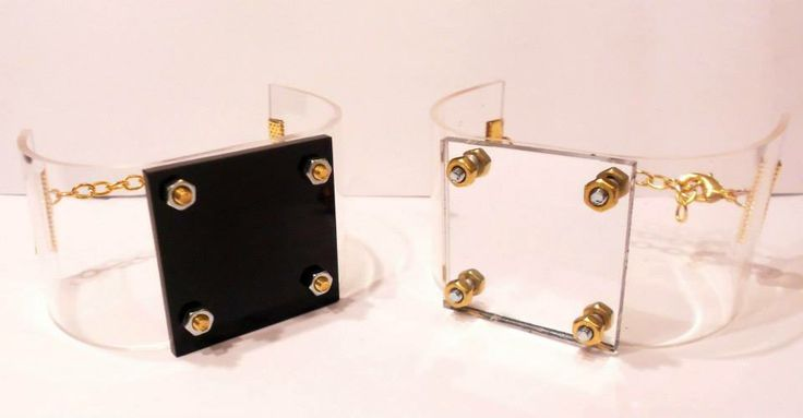 handmade bracelets made by transparent pvc , gold color metal with mirror effects.