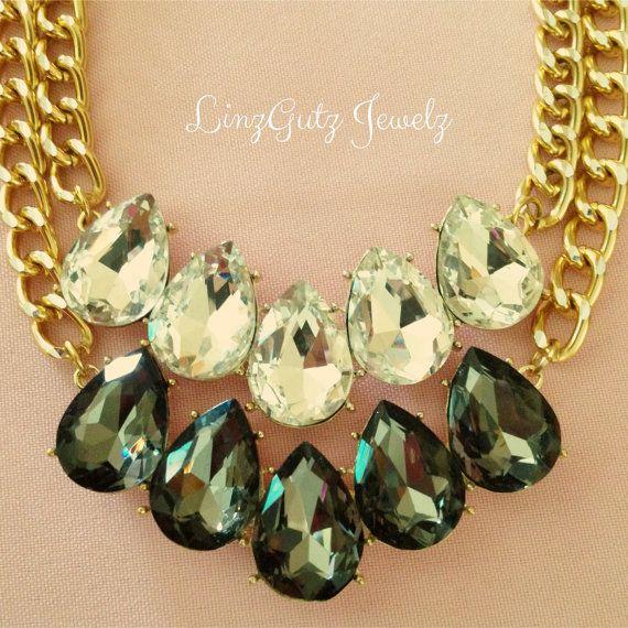 Rhinestone Bling Necklace on Etsy, $28.50