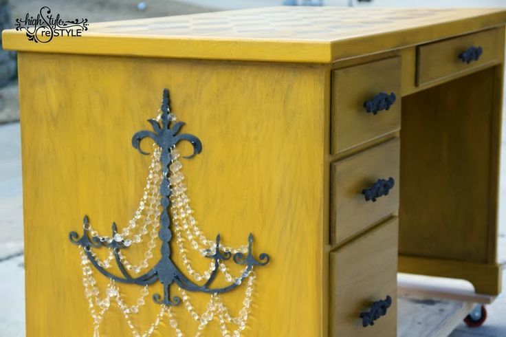 Desk Makeover - Van Gogh Furniture Paint Sunflower with Antiqueing Glaze by High Style reStyle - Featured On Furniture Flippin'
