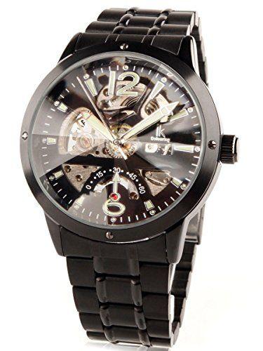 Alienwork IK Handaufzug mechanische Armbanduhr Skelett Uhr schwarz Metall 98234G-A - http://uhr.haus/alienwork/alienwork-ik-handaufzug-mechanische-armbanduhr