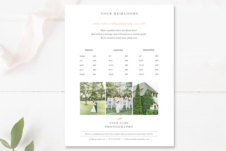 Photography Price List Template, Photographer Pricing Guide