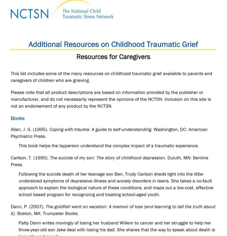 Additional Resources on Childhood Traumatic Grief -Resources for Caregivers