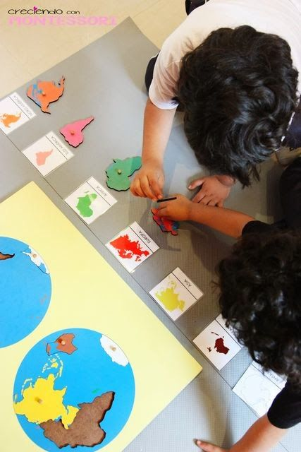 Mapas puzzle Montessori Continentes y Océanos- Imprimibles gratis