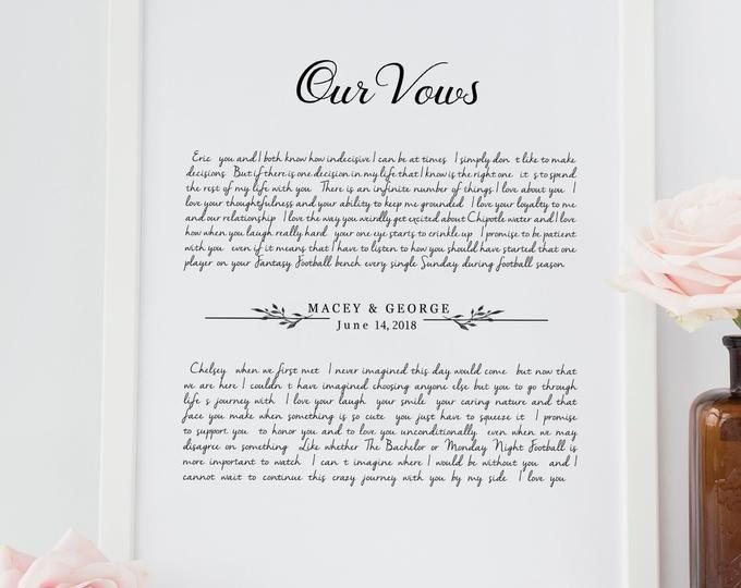 Newlywed Gift Wedding Vows 1st Anniversary Gift Handmade Paper Cotton Rag Paper 2nd Anniversary Gift Custom Cotton Anniversary Gift