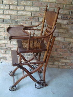 antique high chair value 1 ANTIQUE OAK COMBO BABY HIGHCHAIR STROLLER CHILDS CHAIR VINTAGE  antique high chair value