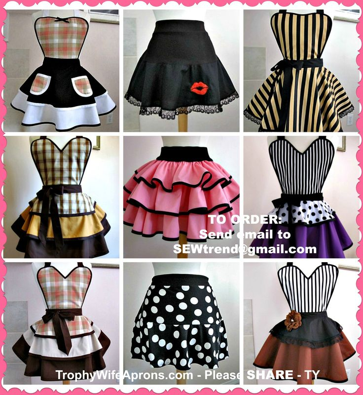 ☀ $  SAVE it to WIN it ☀  The lucky girl will get to select the Retro apron-dress she wants.  Vintage inspired sexy aprons - #flirtyaprons - Custom or readymade hostess aprons -All sizes #hostessaprons #retroaprons #sexyaprons #ruffledaprons #layeredaprons #aprons #leggings ☀ ☀ I regularly giveaway a FREE Funky Hostess Apron ☀ ☀  CLICK here for details==> https://sites.google.com/site/trophywifeaprons - I invite you to LIKE my fan page at:  www.Facebook.com/TrophyWifeAprons