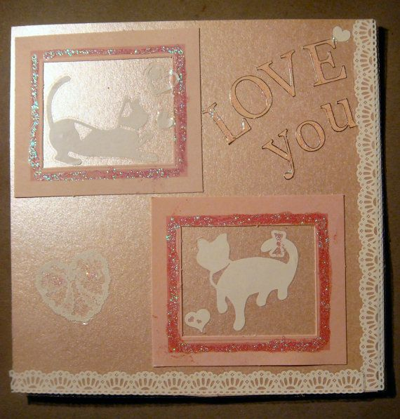 Love Cats Valentine / Anniversary Card  Cat lovers by LunarCrafts, $4.00