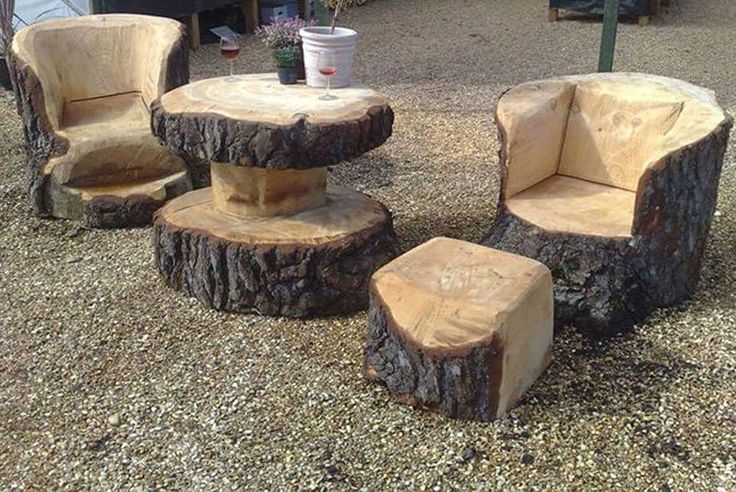 Wood furniture for the campfire.  #wood #brown #carved #woodwork #campfire #fire #outdoors #outside #yard #DIY #handmade #crafts #gifts #decor #decorating #table #chairs #stool #ottoman #drinks #alcohol #relaxing #namastê #chillen #summer #weekend #spring #fall #autumn de caramel_karma1