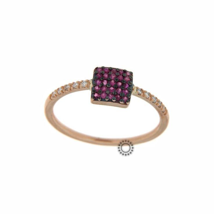 Δαχτυλίδι χρυσό Κ18 με κόκκινα ρουμπίνια & διαμάντια | Δαχτυλίδια με ορυκτές πέτρες online & στο κοσμηματοπωλείο ΤΣΑΛΔΑΡΗΣ στο Χαλάνδρι #ρουμπίνια #διαμάντια #δαχτυλίδι
