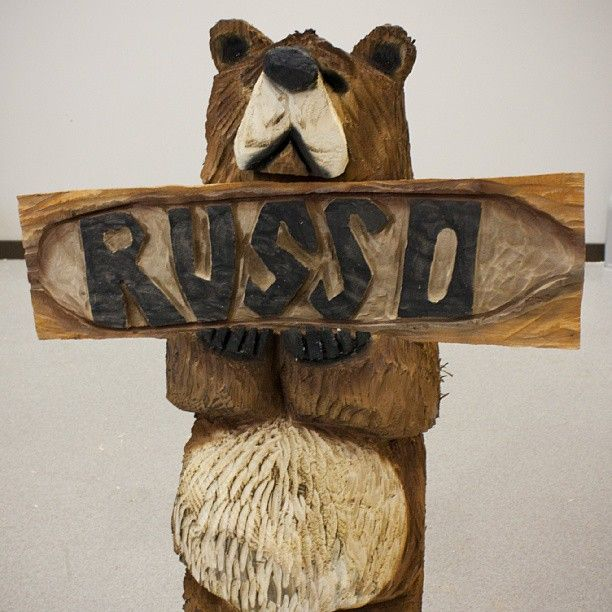 Russo power equipment s own chainsaw carved wooden bear