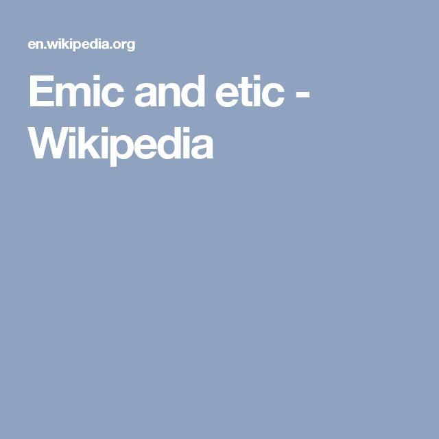 Emic and etic - Wikipedia